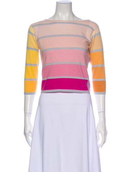 Balmain Cashmere Striped Sweater Pink
