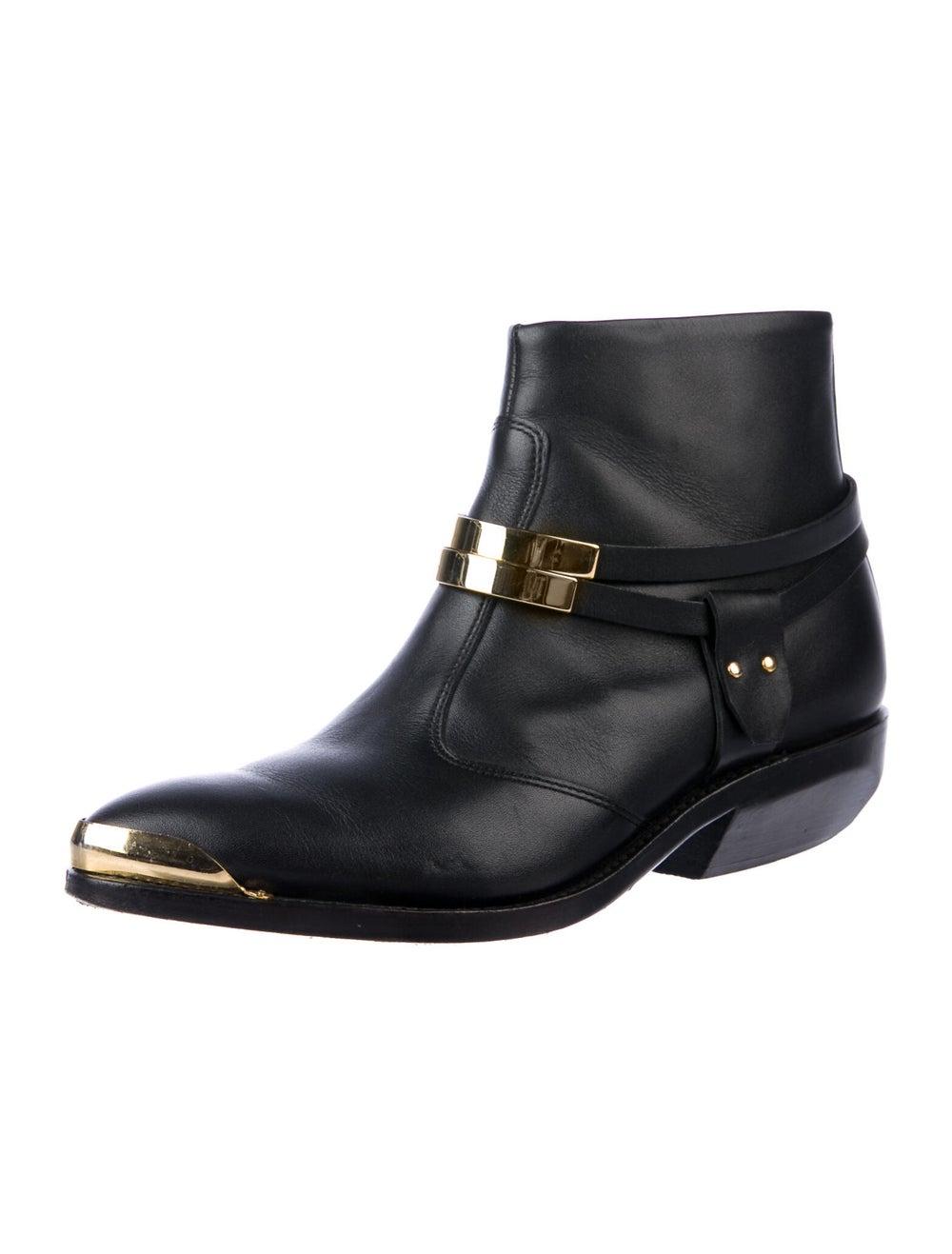 Balmain Leather Western Boots Black - image 2