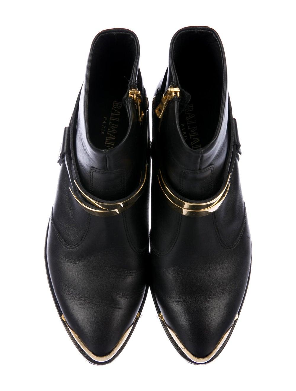 Balmain Leather Western Boots Black - image 3