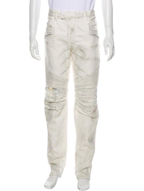 Balmain Moto Jeans w/ Tags White