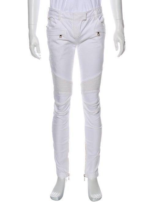Balmain Moto Jeans White