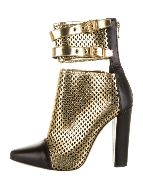 Balmain Leather Colorblock Pattern Boots Gold