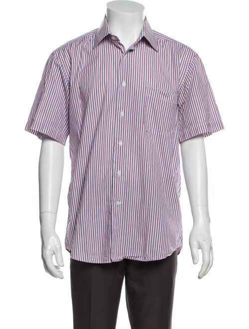 Balmain Striped Short Sleeve Shirt White