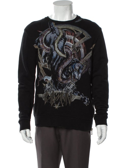 Balmain Graphic Print Crew Neck Sweatshirt Black