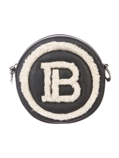 Balmain Shearling-Trimmed Crossbody Bag Black