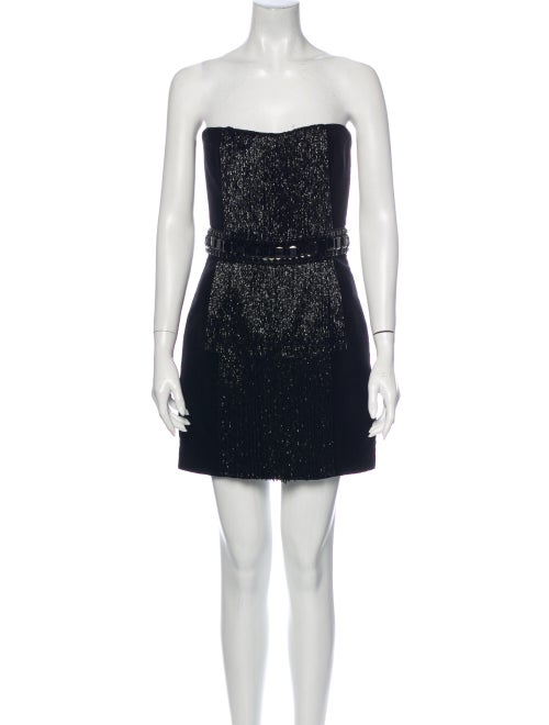 Balmain Strapless Mini Dress Black