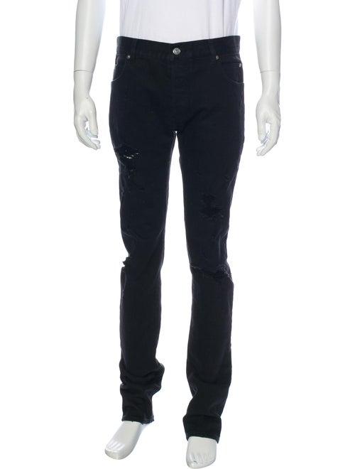 Balmain Distressed Skinny Jeans Black