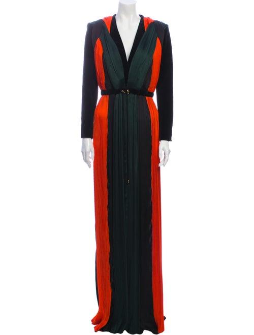 Balmain Silk Long Dress Black