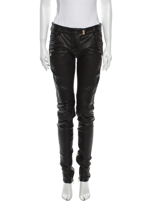 Balmain Lamb Leather Skinny Leg Pants Black
