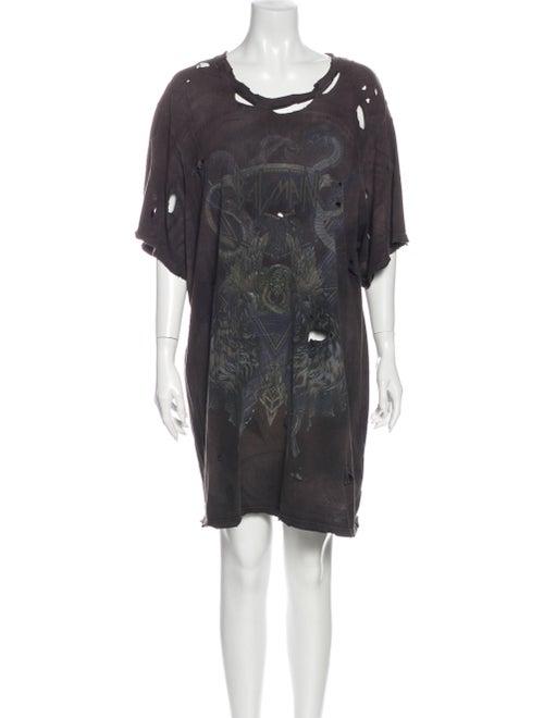 Balmain Printed Mini Dress Grey