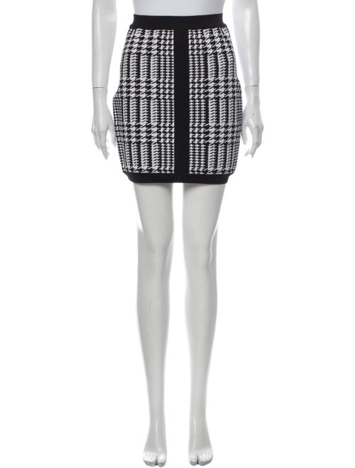 Balmain Houndstooth Print Mini Skirt Black