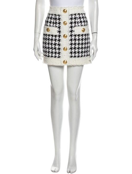 Balmain Houndstooth Print Mini Skirt