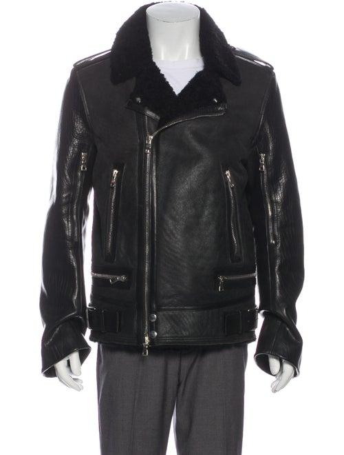 Balmain Shearling Moto Jacket Black
