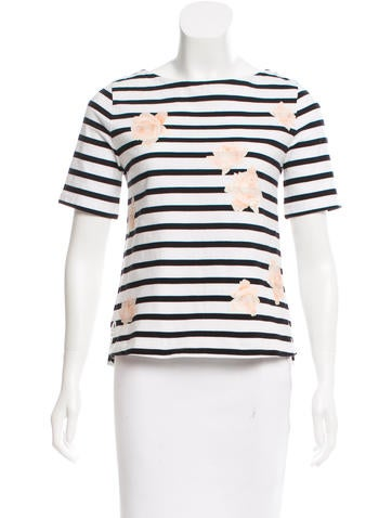 Band of Outsiders Striped Floral Print Top