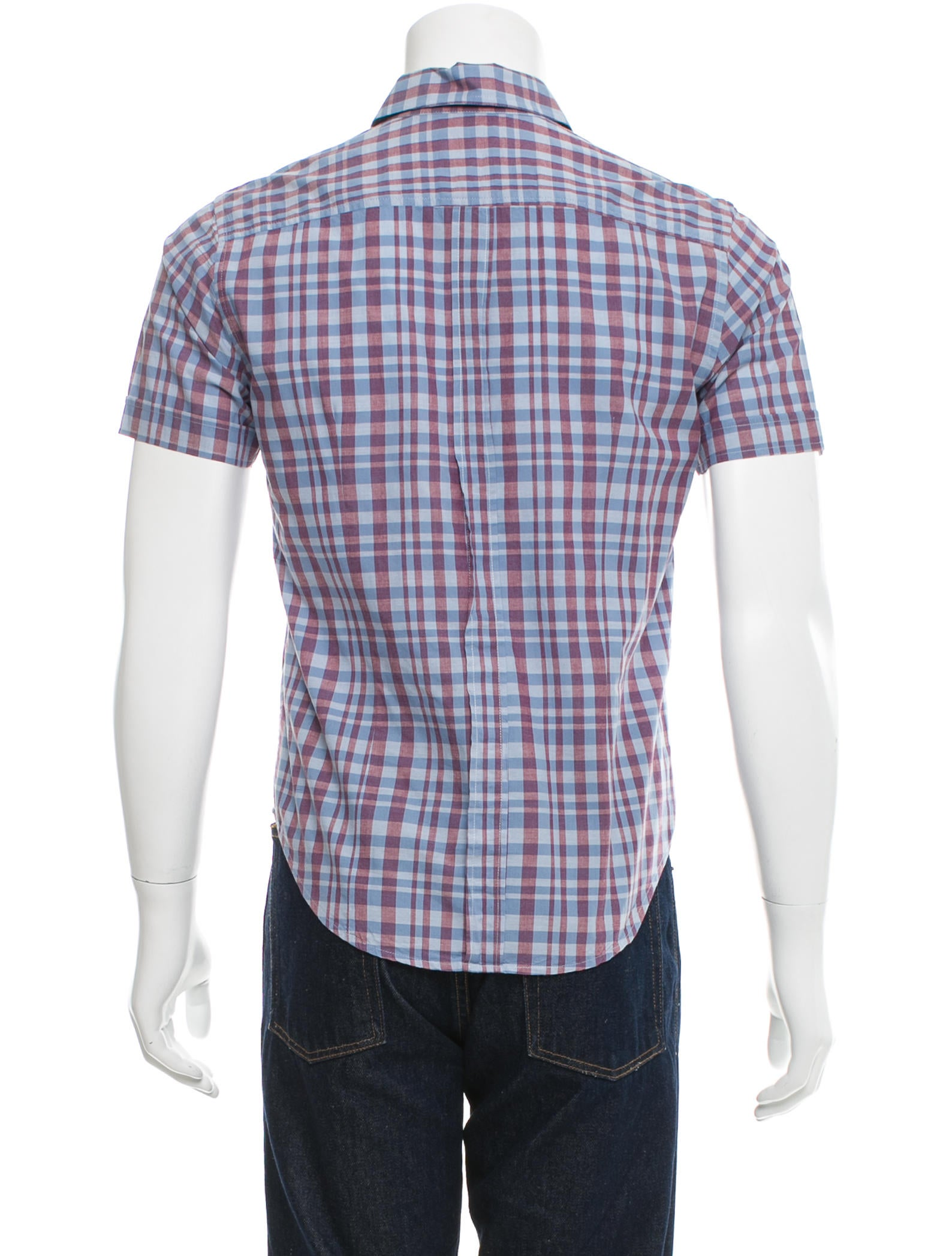 Band of outsiders plaid print button up shirt clothing for Purple plaid button up shirt