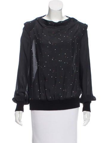 Band of Outsiders Sheer Embellished Top None
