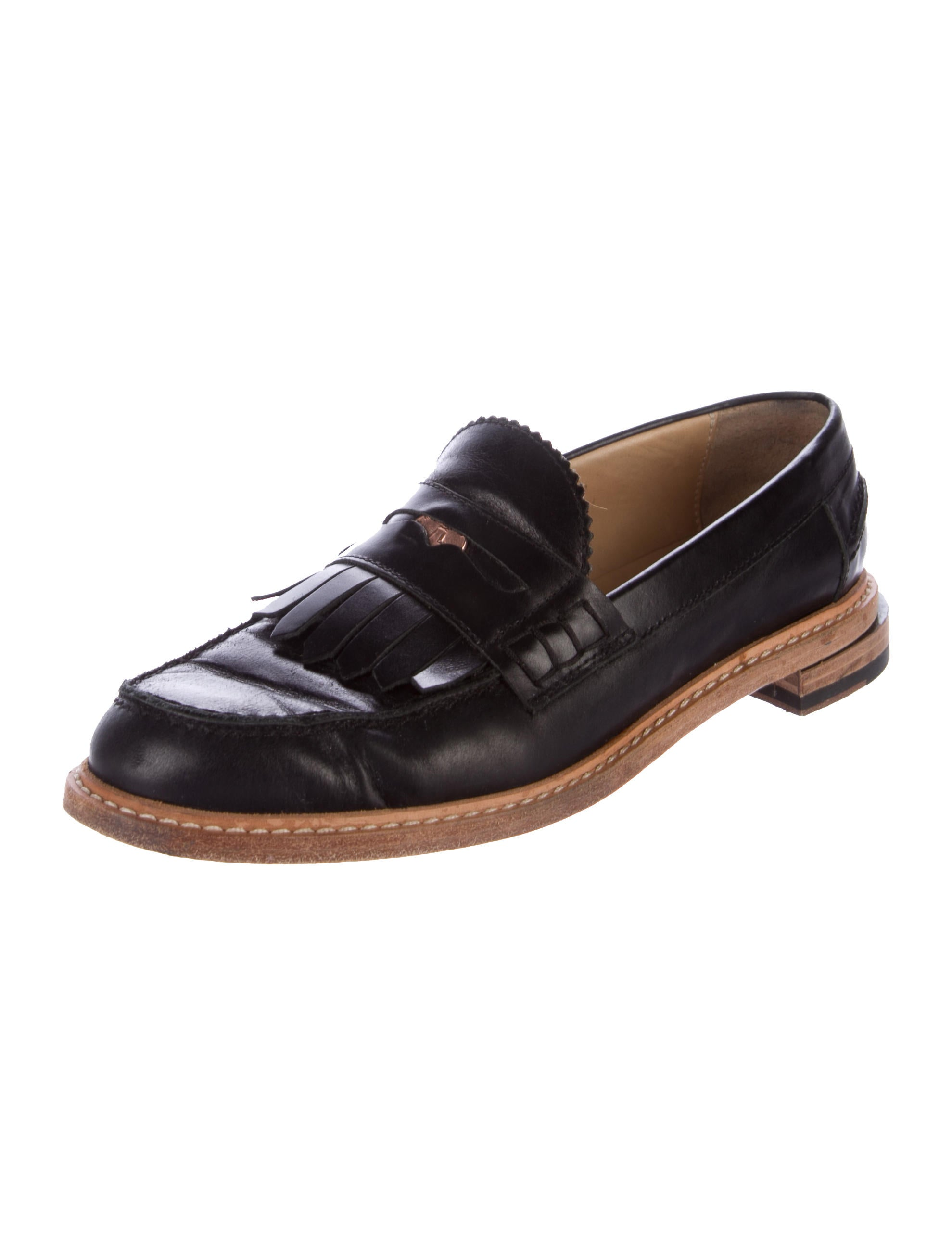 Band of Outsiders Leather Round-Toe Loafers pay with paypal cheap price zkWtAlWk3C