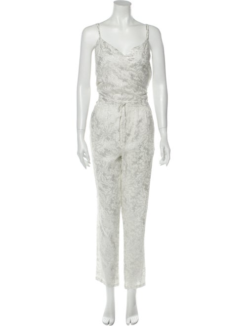 Band of Outsiders Silk Printed Jumpsuit Metallic