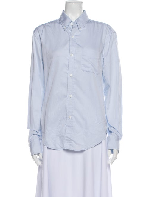 Band of Outsiders Long Sleeve Button-Up Top Blue