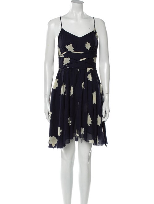 Band of Outsiders Floral Print Mini Dress Blue