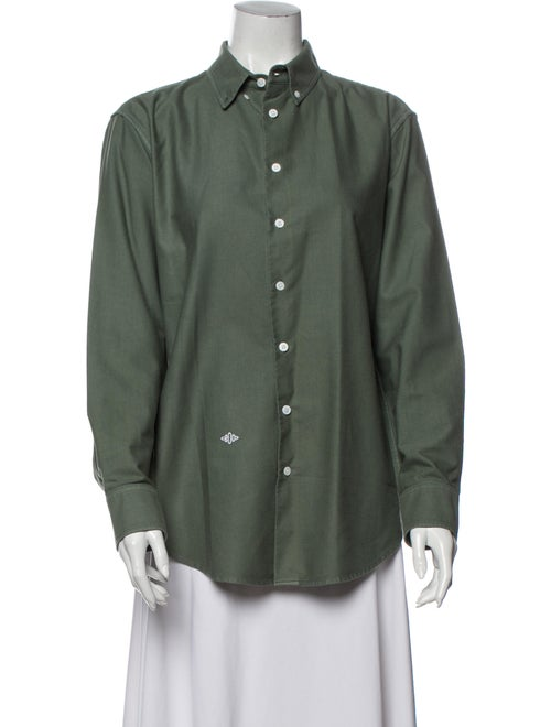 Band of Outsiders Long Sleeve Button-Up Top Green