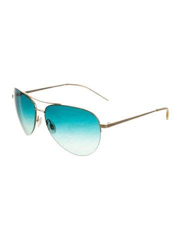 Gold-Tone Aviator Sunglasses
