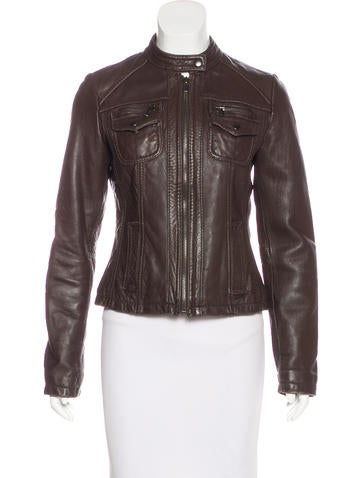 Barney's Leather Moto Jacket None