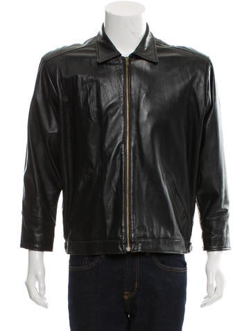 Barney's Leather Zip-Up Jacket None