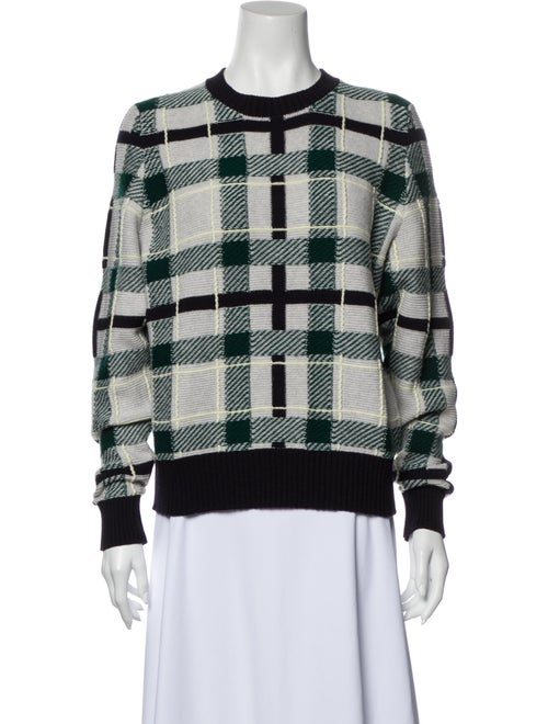 Barrie Wool Plaid Print Sweater Wool