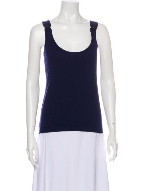Barrie Cashmere Scoop Neck Top Blue