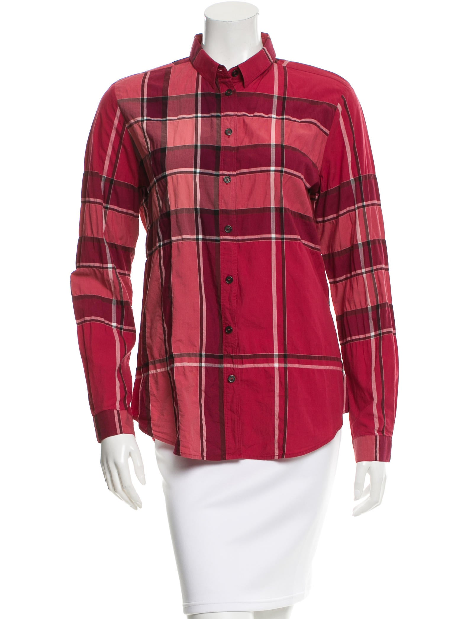 Burberry brit plaid button up top clothing bbr24125 for Burberry brit plaid shirt