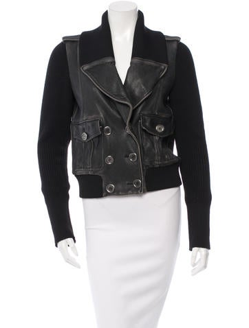 Burberry Brit Knit-Trimmed Leather Jacket None