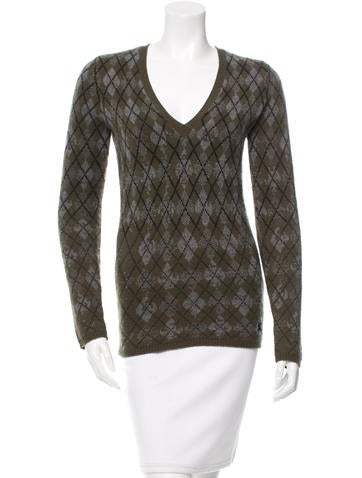 Burberry Brit Argyle Wool Sweater None
