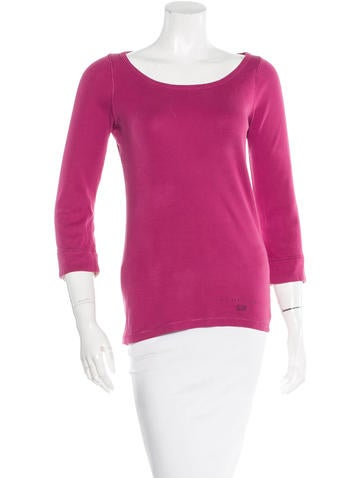 Burberry Brit Rib Knit Scoop Neck Top None