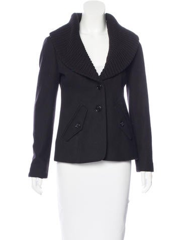 Burberry Brit Wool Rib Knit-Trimmed Jacket None