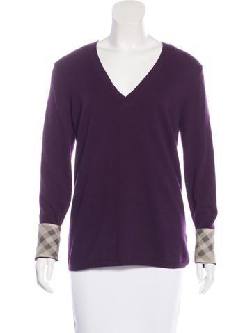 Burberry Brit Nova Check-Trimmed Cashmere Sweater None