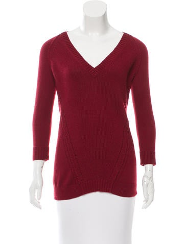 Burberry Brit Red V-Neck Sweater None