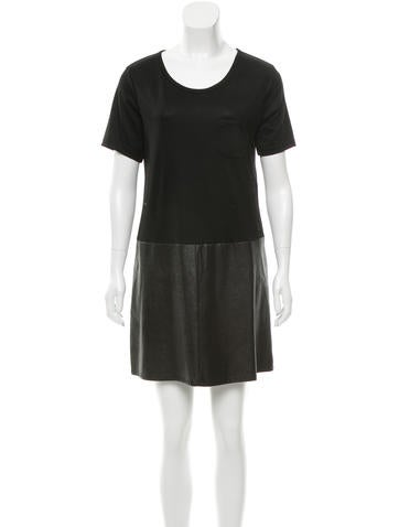 Burberry Brit Leather & Wool Dress None