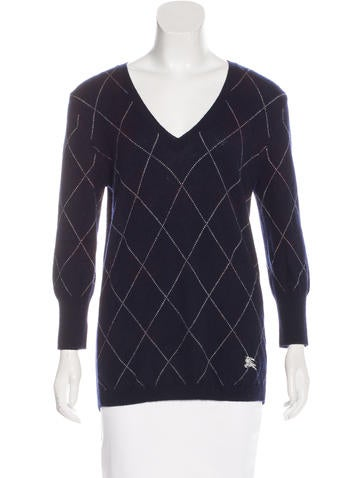 Burberry Brit Argyle Merino Wool Sweater None