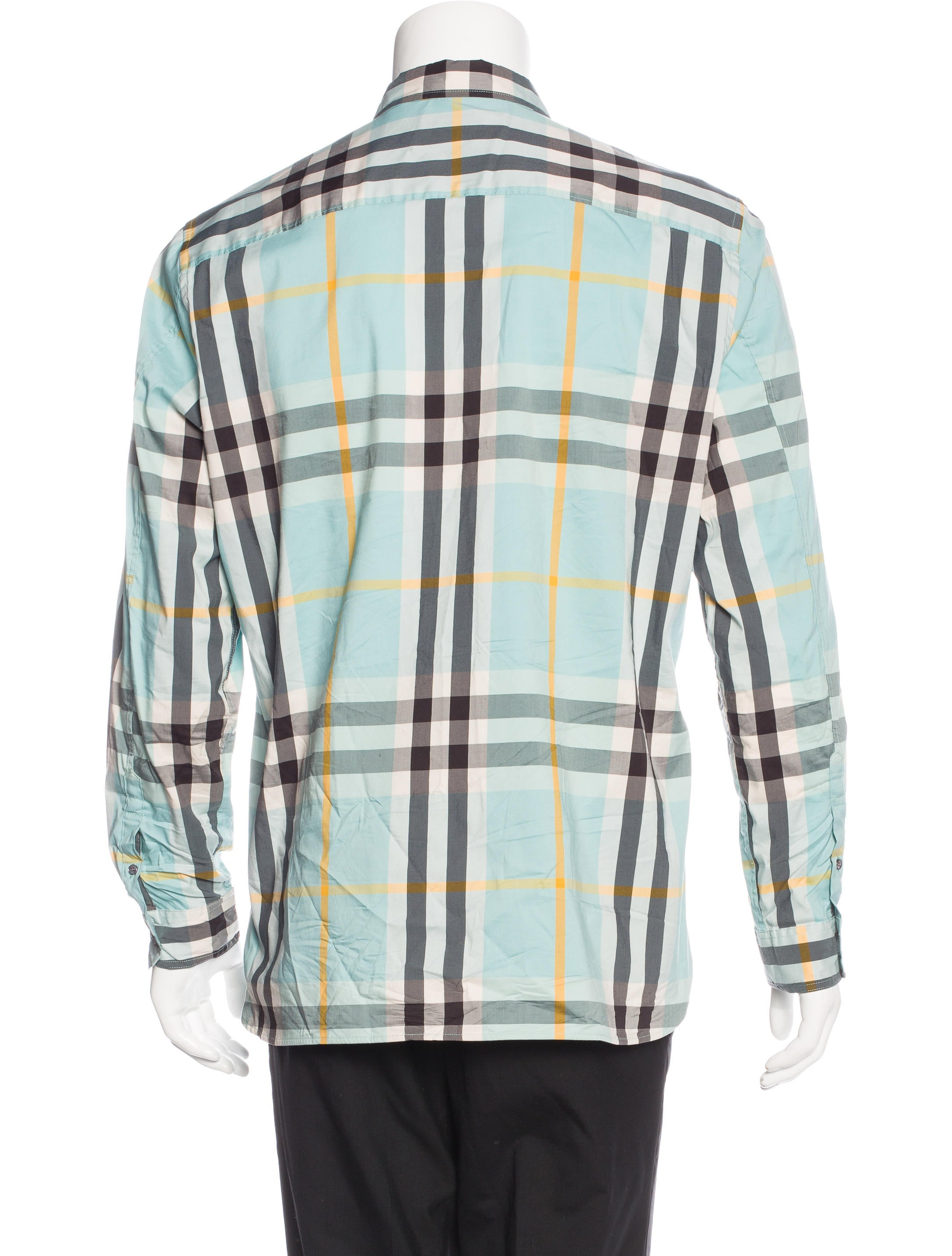 Burberry brit plaid woven shirt clothing bbr27131 for Burberry brit green plaid shirt