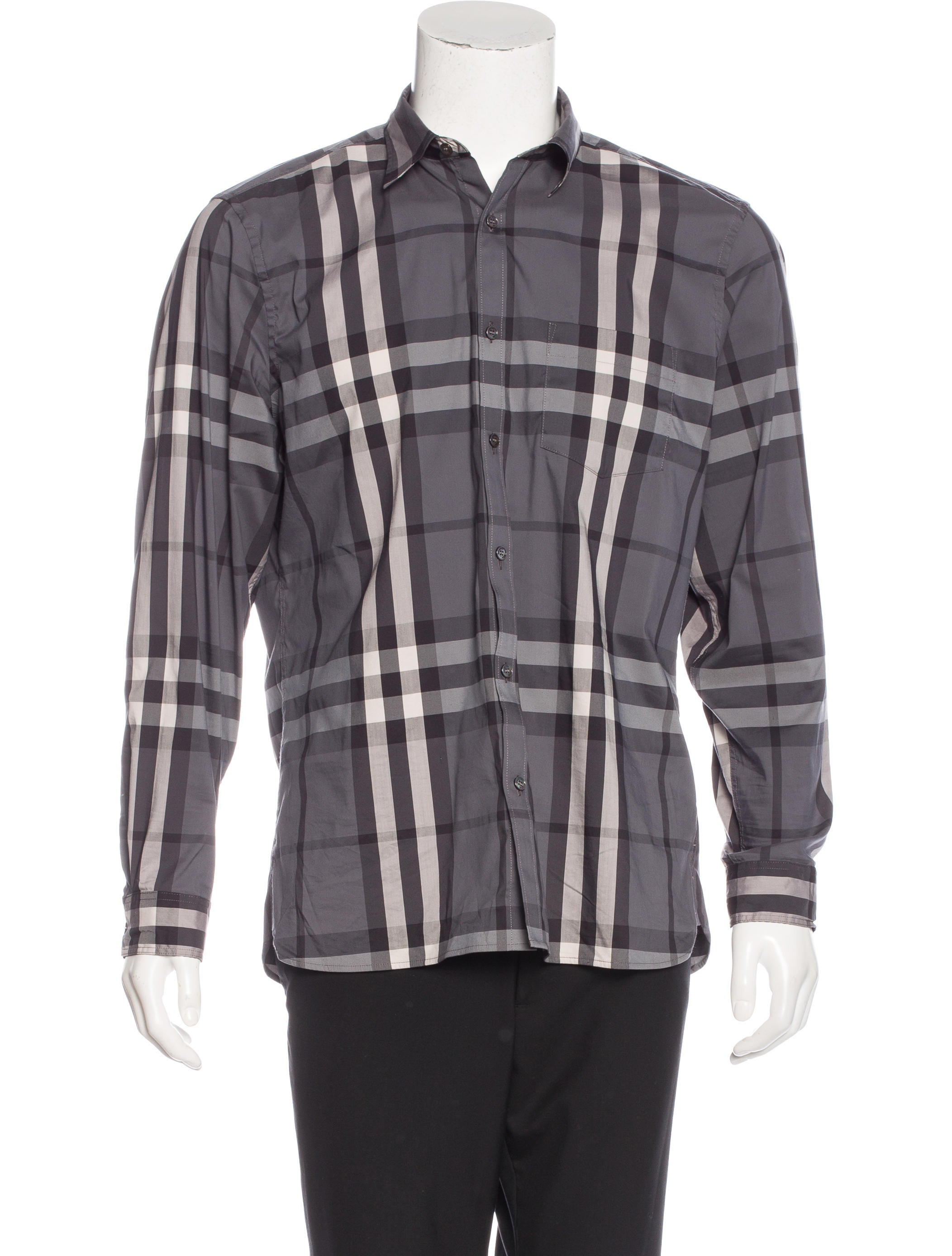 Burberry brit plaid woven shirt clothing bbr27133 for Burberry brit green plaid shirt