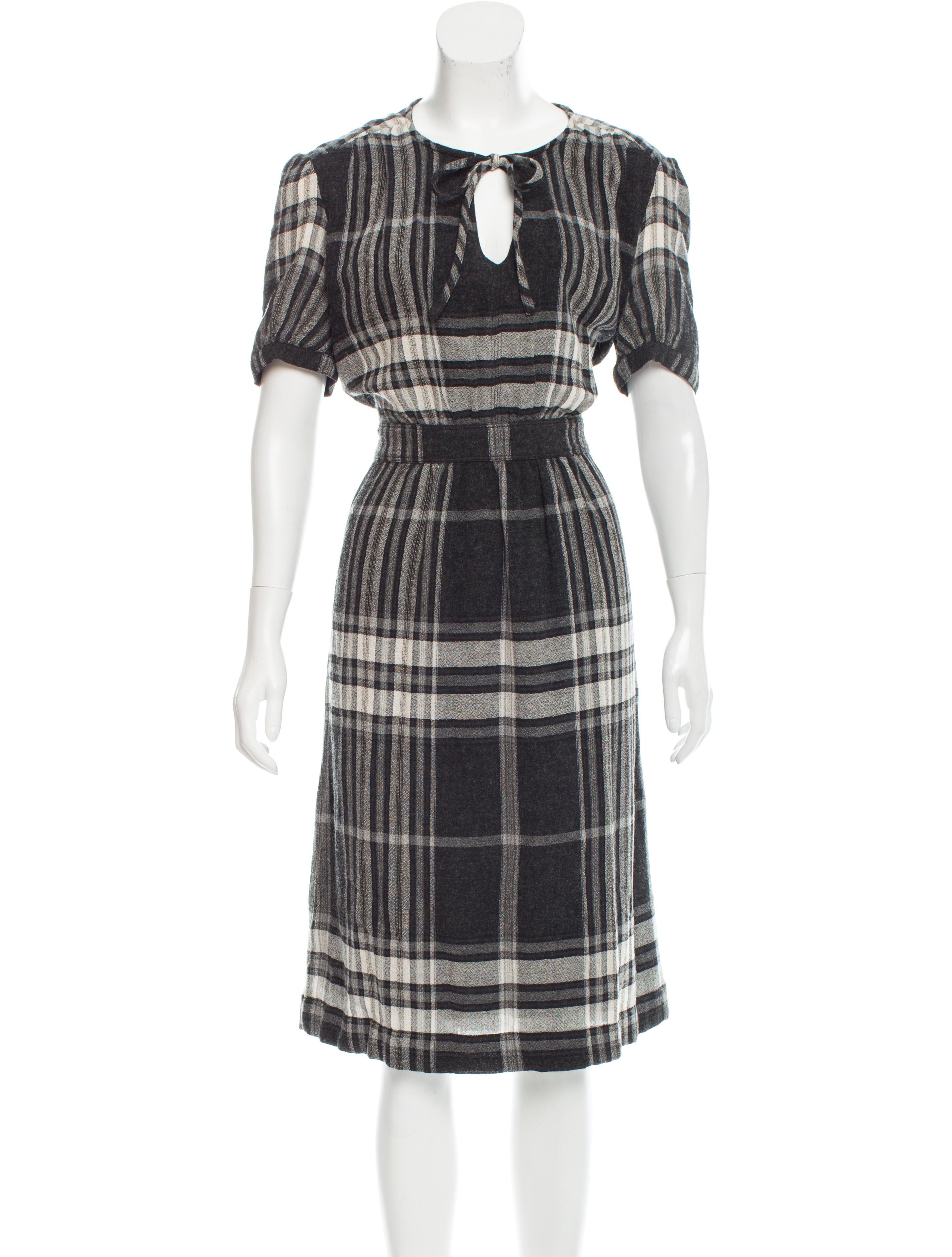 Burberry Brit Plaid Midi Dress Clothing Bbr27346 The