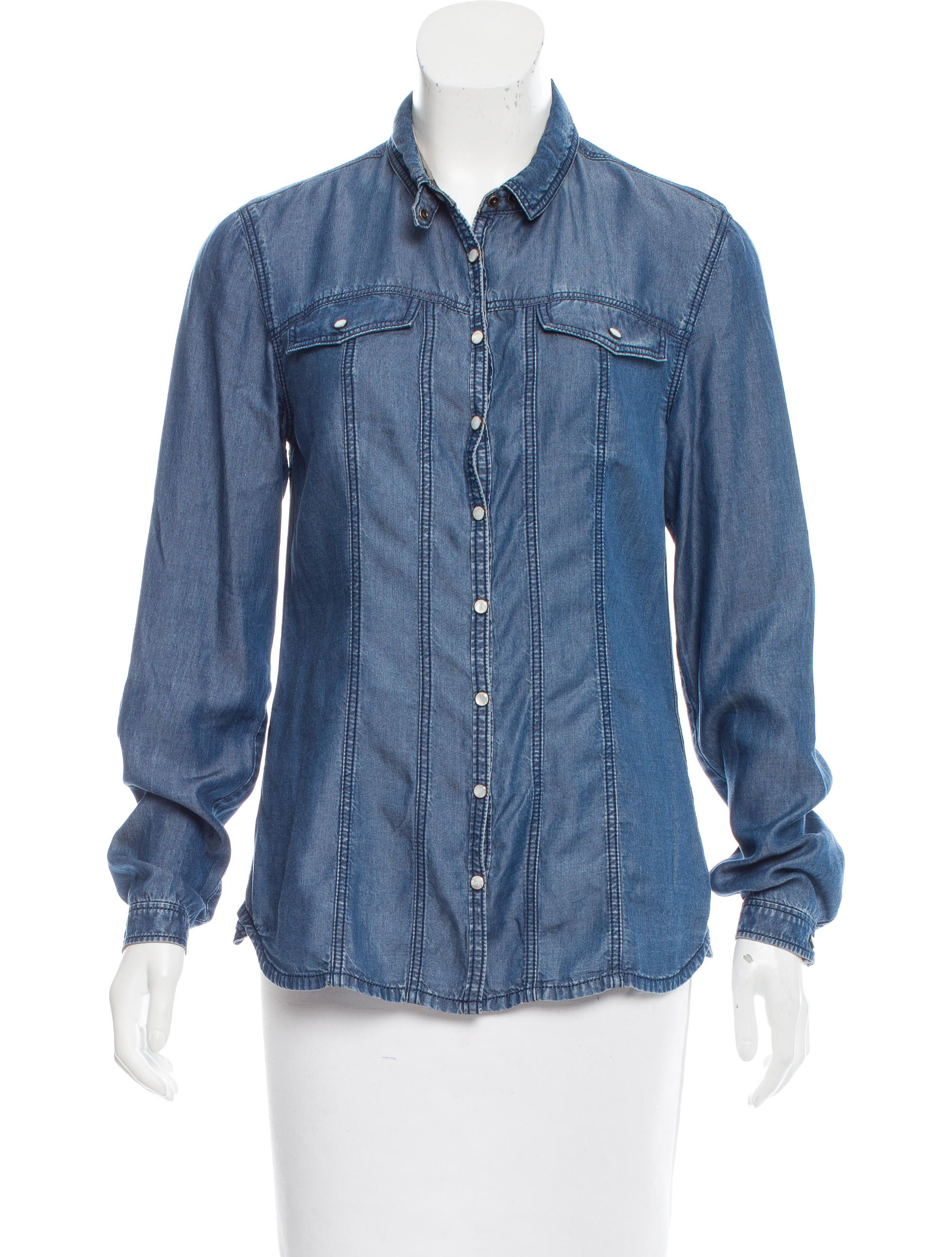 Burberry brit chambray button up top clothing bbr27367 for Chambray top