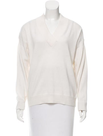 Burberry Brit Long Sleeve V-Neck Sweater None