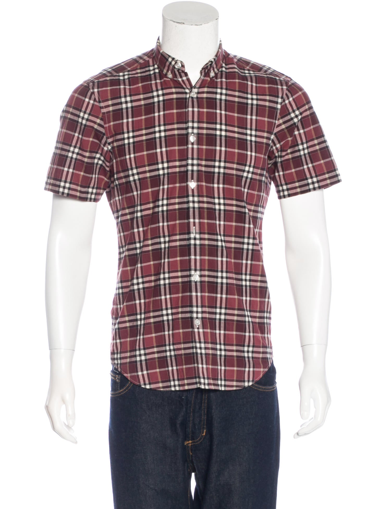 Burberry brit plaid woven shirt clothing bbr27626 for Burberry brit checked shirt