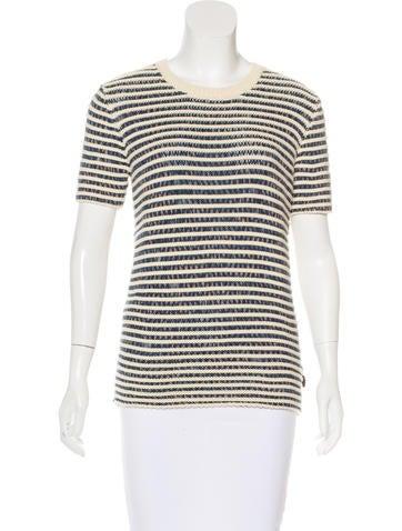 Burberry Brit Rib-Knit Short Sleeve Sweater None