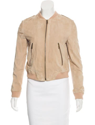 Burberry Brit Suede Bomber Jacket None