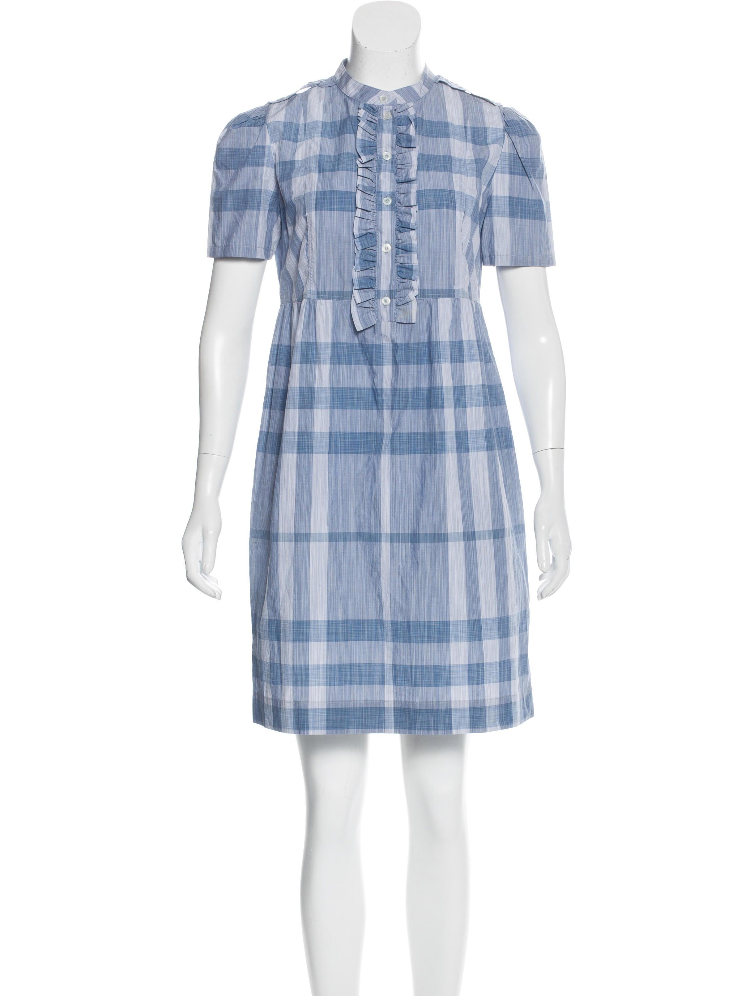 Burberry Brit Plaid Short Sleeve Dress Clothing