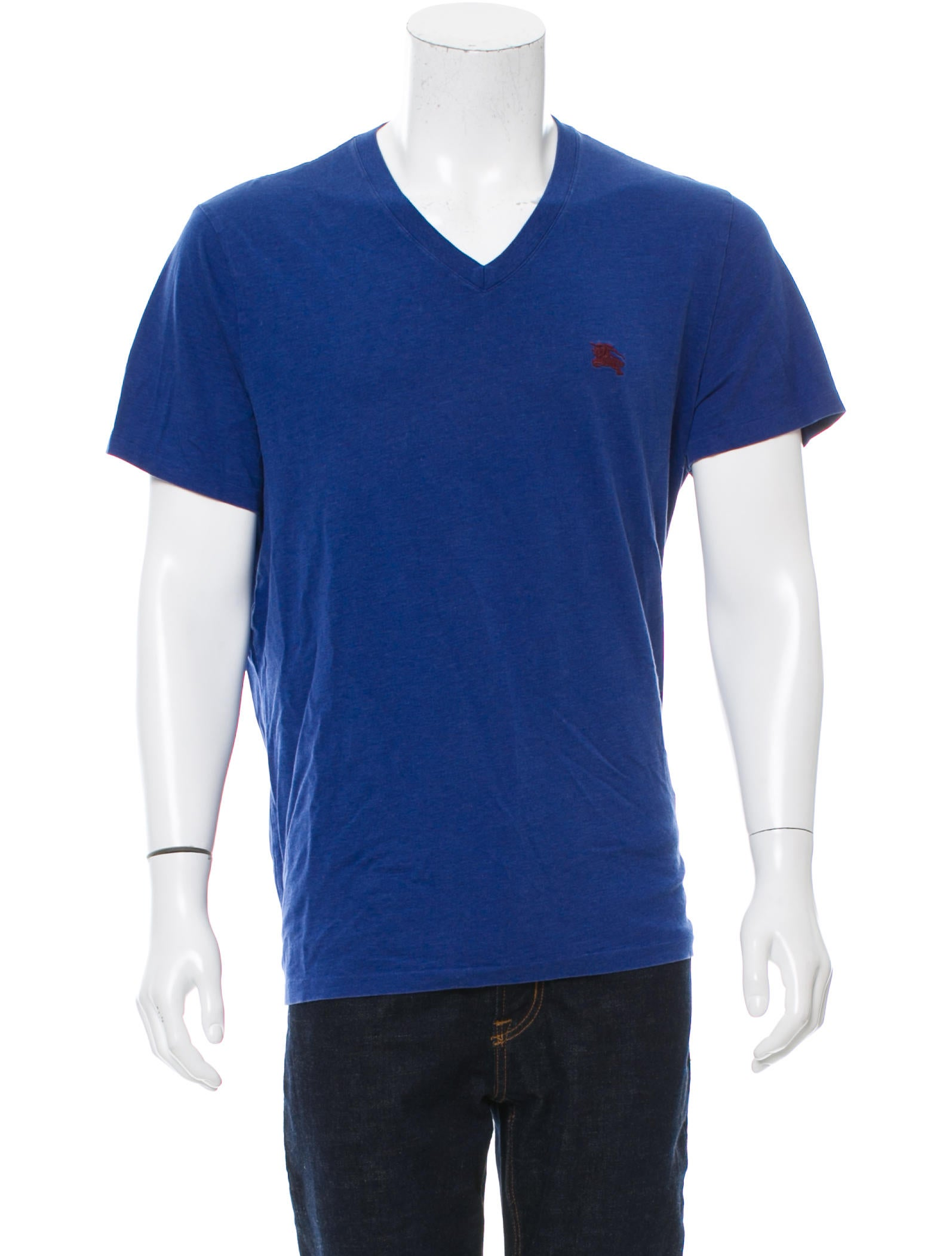 Burberry brit logo embroidered v neck t shirt clothing for T shirt logo embroidery