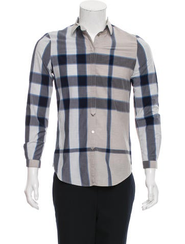 Burberry brit plaid button up shirt clothing bbr28123 for Burberry brit plaid shirt